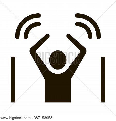 Man Not Passed Warning Signal Sensors Glyph Icon Vector. Man Not Passed Warning Signal Sensors Sign.