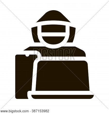 Theft Of Technology Laptop, Smartphone Glyph Icon Vector. Theft Of Technology Laptop, Smartphone Sig
