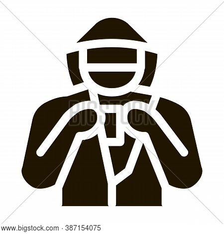 Shoplifter With Goods Glyph Icon Vector. Shoplifter With Goods Sign. Isolated Symbol Illustration