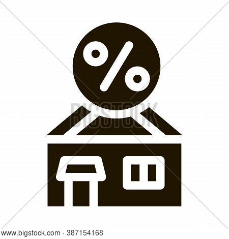 House Borrowed At Interest Credit Glyph Icon Vector. House Borrowed At Interest Credit Sign. Isolate