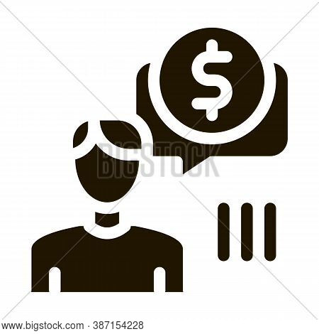 Man Persistently Waiting For Salary Glyph Icon Vector. Man Persistently Waiting For Salary Sign. Iso