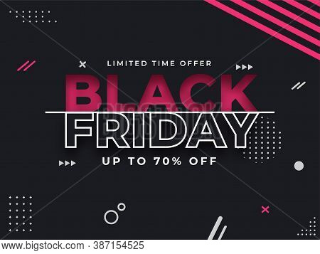 Black Friday Sale Poster Or Banner Design With 70% Discount Offer On Abstract Geometric Background.