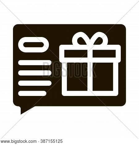 Gift Notification Message Glyph Icon Vector. Gift Notification Message Sign. Isolated Symbol Illustr
