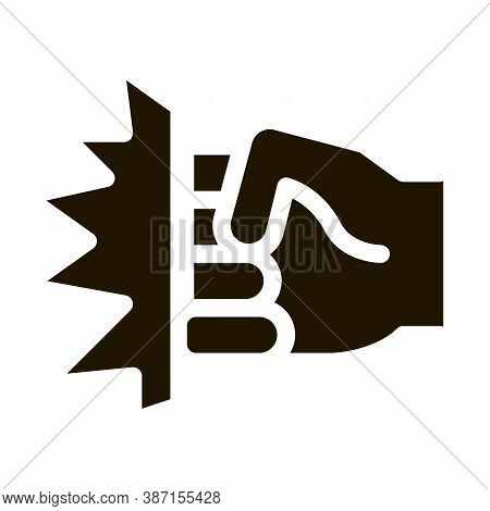 Strength Fist Punch Glyph Icon Vector. Strength Fist Punch Sign. Isolated Symbol Illustration