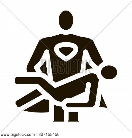 Hero Holds On Hands Human Glyph Icon Vector. Hero Holds On Hands Human Sign. Isolated Symbol Illustr