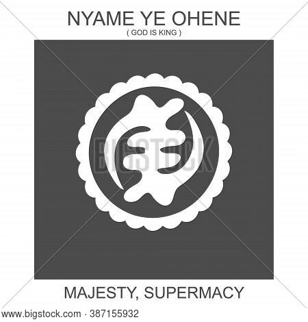 Vector Icon With African Adinkra Symbol Nyame Ye Ohene. Symbol Of Majesty And Supermacy