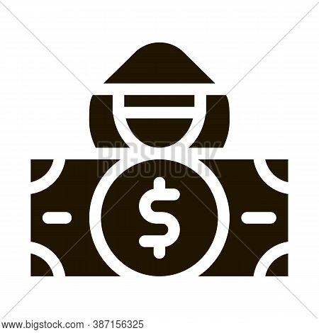 Fake Banknote Fraudster Glyph Icon Vector. Fake Banknote Fraudster Sign. Isolated Symbol Illustratio