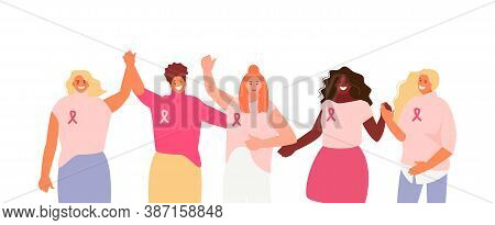 Women Group In Pink Against Breast Cancer. Fight, Solidarity And Support Vector Illustration