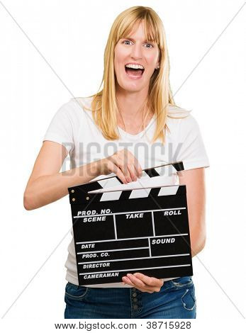 pretty woman holding a clapper board against a white background
