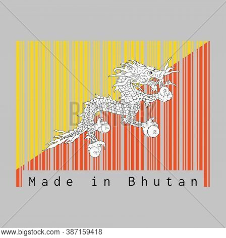 Barcode Set The Color Of Bhutan Flag, Triangle Yellow And Orange With White Dragon And Text: Made In
