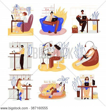 Freelance People Work In Comfortable Cozy Place Set Vector Flat Illustration. Freelancer Multiracial