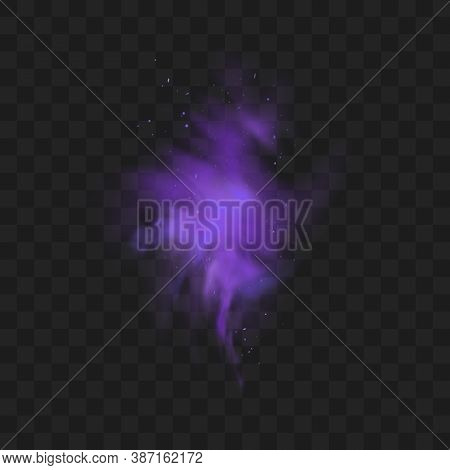 Purple Smoke Isolated On Transparent Dark Background. Abstract Purple Powder Explosion With Particle