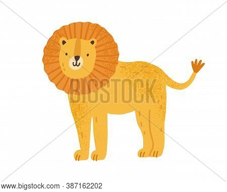 Childish Cute Lion In Simple Scandinavian Style. Flat Vector Cartoon Textured Illustration Of Lovely