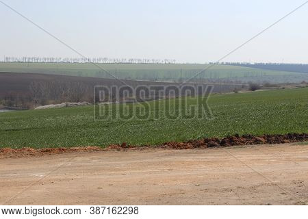 Steppe Hilly Landscape. Rural Landscape. Early Spring.ukraine