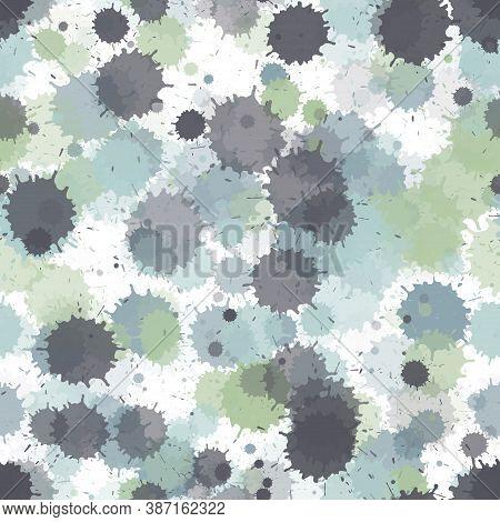 Watercolor Transparent Stains Vector Seamless Grunge Background. Sprawling Ink Splatter, Spray Blots
