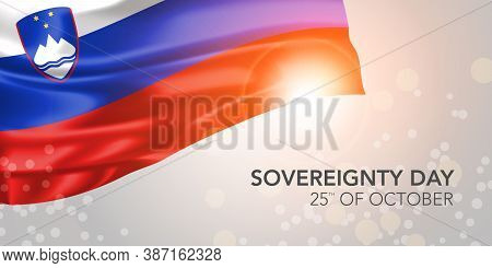 Slovenia Happy Sovereignty Day Vector Banner, Greeting Card