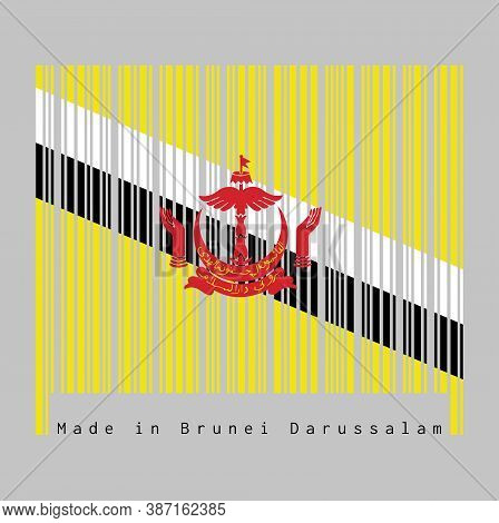 Barcode Set The Color Of Brunei Flag,  Red Crest On Yellow Field Cut By Black And White Diagonal Str
