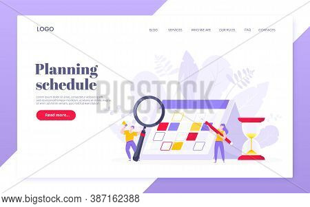 Calendar Planning Schedule Business Concept Vector Illustration. Tiny People With Magnifier Glass, B