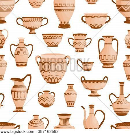 Ancient Greek Clay Pots, Vases And Amphoras Seamless Pattern. Traditional Antique Ware Decorated By