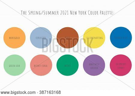 Set Of 10 Fashionable Colors Of Fashion Week For Spring-summer 2021. Color Names Are Written In Circ