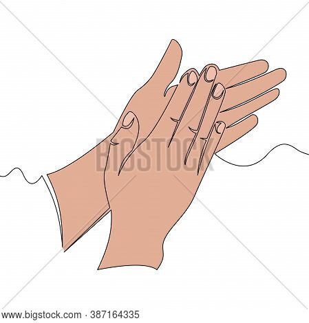 Flat Colorful Continuous Drawing Line Art Clapping Applauding Hands Icon Vector Illustration Concept