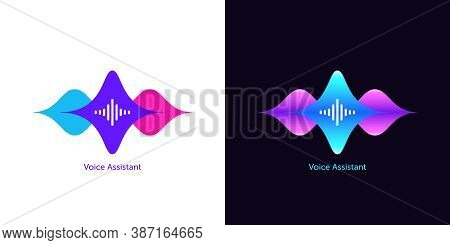 Acoustic Wave Shape For Voice Assistant, Abstract Sound Wave. Voice Dialing, Control And Speech Reco