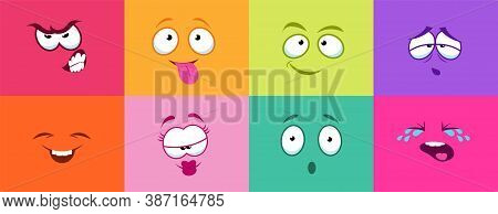Cartoon Cute Faces. Monster Smile Crying Angry, Colorful Cards With Smiley. Comic Characters For Kid