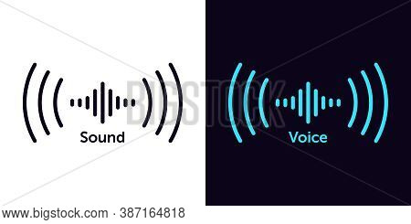 Sound Wave Icon For Voice Recognition In Virtual Assistant, Speech Sign. Abstract Audio Wave, Voice