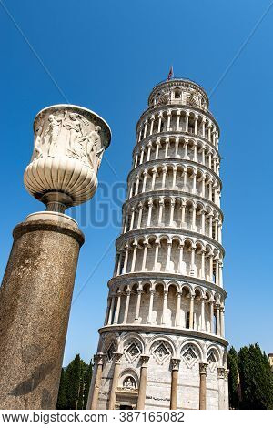 Leaning Tower Of Pisa And The Vase Of The Talent (vaso Del Talento, Italian). Square Of Miracles (pi