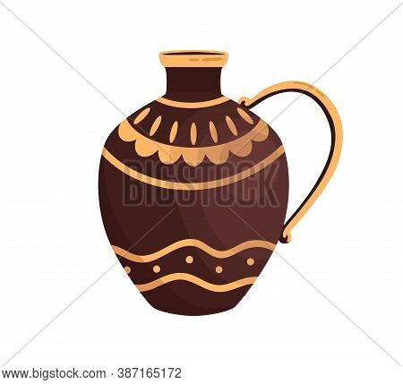 Ancient Greek Ceramic Jar Decorated By Hellenic Ornaments Vector Flat Illustration. Clay Amphora Wit