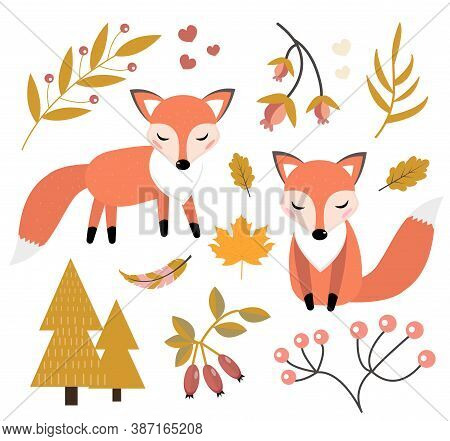 Cute Fox In The Autumn Forest Set Of Objects. Collection Of Design Elements With Little Foxy, Autumn