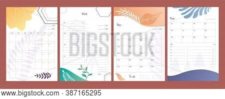 Planners Set. To Do Lists, Weekly And Daily Schedule Template, Year Plan Form Vector Illustration. O