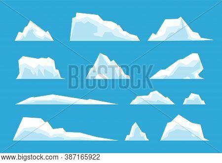 Arctic Iceberg. North Pole Travelling, Ice Rock Glacier Mountain Winter Landscape Elements. Snow Mel