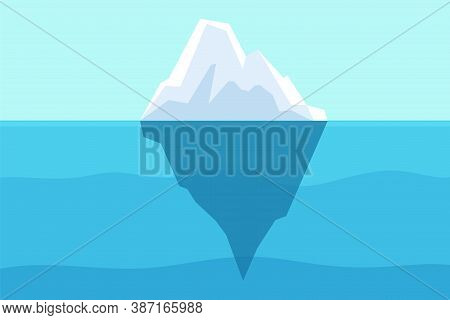 Iceberg Floating In Ocean. Arctic Water, Sea Underwater With Berg And Freezing Light. Polar Or Antar