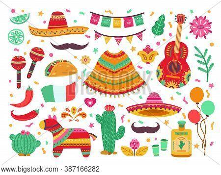 Cinco De Mayo. Guitar Party, Isolated Mexican Fiesta Decoration. Sombrero Cactus, Latin Birthday Fes