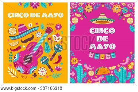 Cinco De Mayo Poster. Mexican Party, Mexico Latin Fiesta Invitation. Spanish Chili, Skulls Flowers F