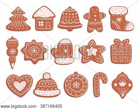 Gingerbread Cookies. Christmas Bread, Ornament Ginger Biscuits With Glaze Decoration. Isolated Holid