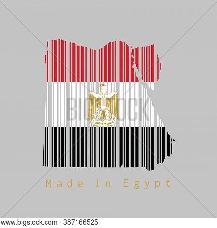 Barcode Set The Shape To Egypt Map Outline And The Color Of Egypt Flag On Grey Background, Text: Mad