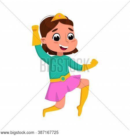 Cute Brunette Girl Playing Superhero Wearing Colorful Costume, Adorable Kid Superhero Character Cart