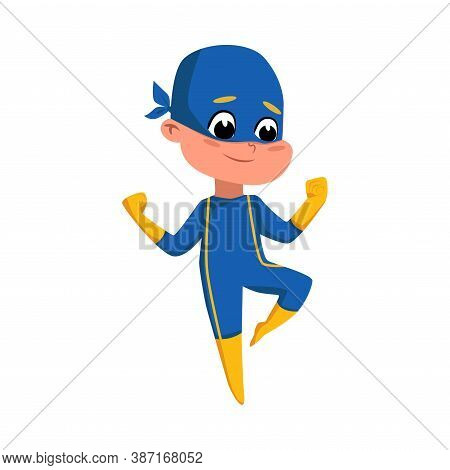 Cute Boy In Blue Superhero Costume And Mask, Adorable Kid Superhero Character Cartoon Style Vector I