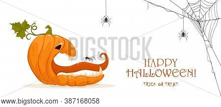 Halloween Banner. Spider On The Tongue Of A Scary Pumpkin. Jack O' Lantern And Spiders Isolated On W