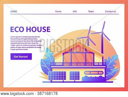 Landing Page Template.green Energy An Eco Friendly Suburban American House.