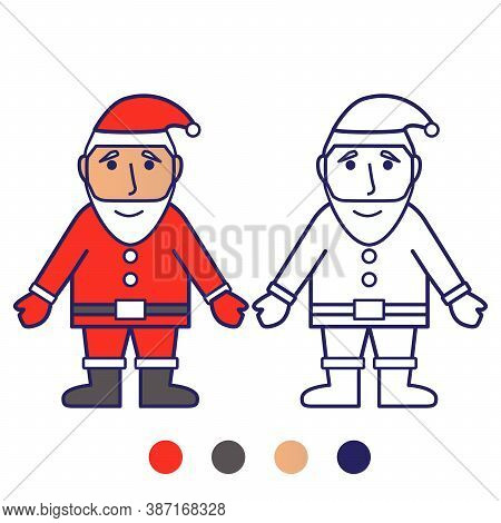 Character Santa Claus With A Cute Face.coloring Book For Children.