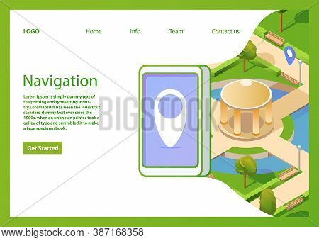 Isometric Map Mobile Gps Navigation Smartphone. Public Summer Park Navigator Pin Blue Color.