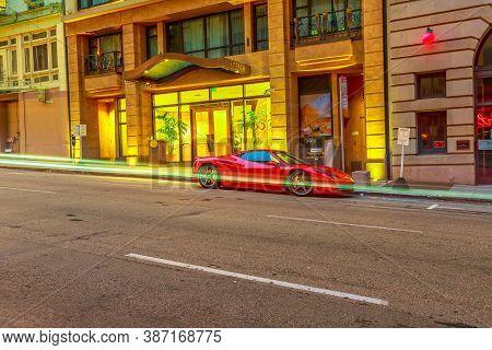 San Francisco, California, United States - August 16, 2019: Ferrari Car Parked On The Street Of San
