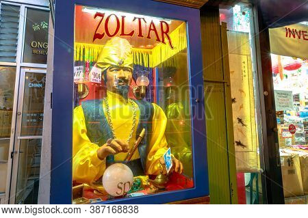 San Francisco, California, United States - August 16, 2019: Detail Of Zoltar Machine, A Fortune Tell