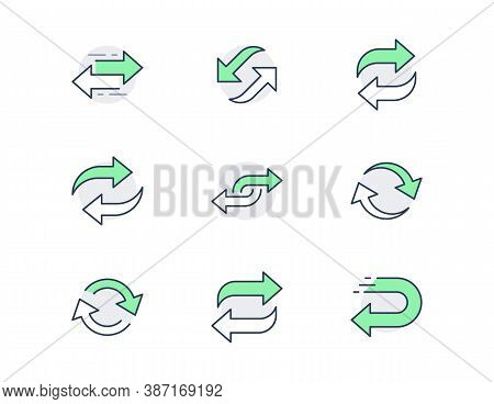 Reverse Line Icons. Vector Illustration Included Icon As Swap, Flip, Currency Exchange, Switch, Repe