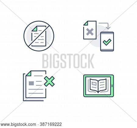 Paperless Line Icons. Vector Illustration Included Icon As Less Paperwork, Digital Office, Bureaucra