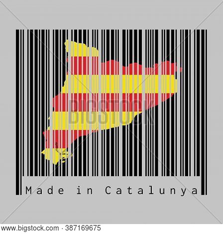 Barcode Set The Shape To Catalonia Map Outline And The Color Of Catalonia Flag On Black Barcode With