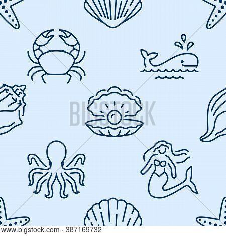 Seashell Seamless Pattern. Vector Background Included Line Icons As Sea Shells, Scallop, Starfish, M